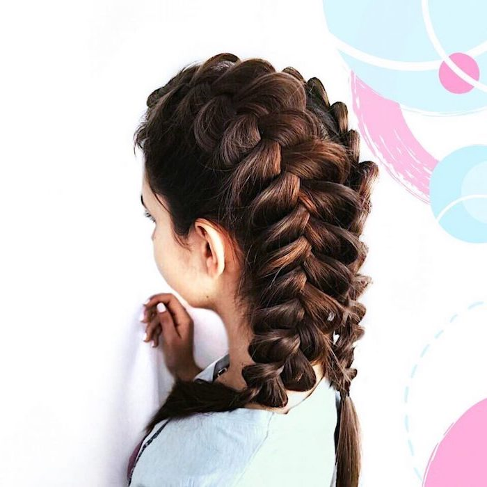 brown hair, two side braids, white background, braid styles for girls, blue shirt