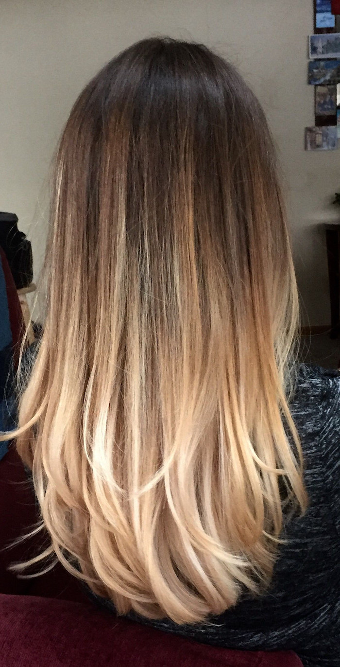 brown to blonde, long straight hair, how to do ombre hair, black top
