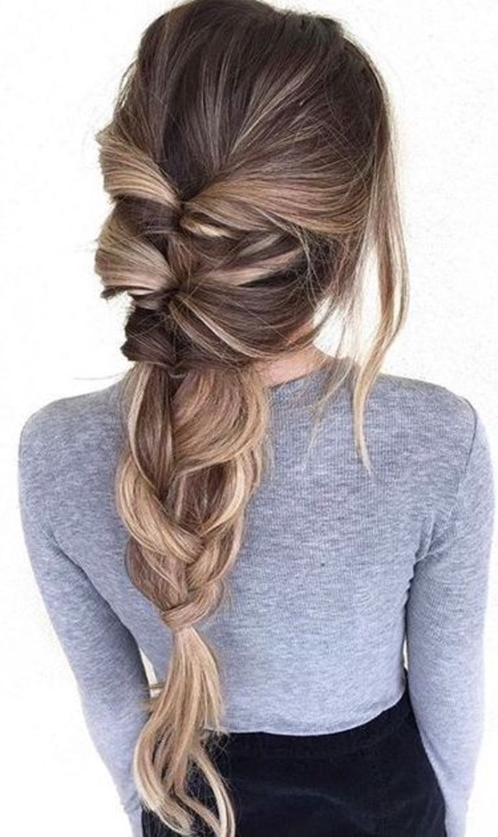 grey blouse, brown hair, blonde highlights, loose braid, how to do a waterfall braid, white background