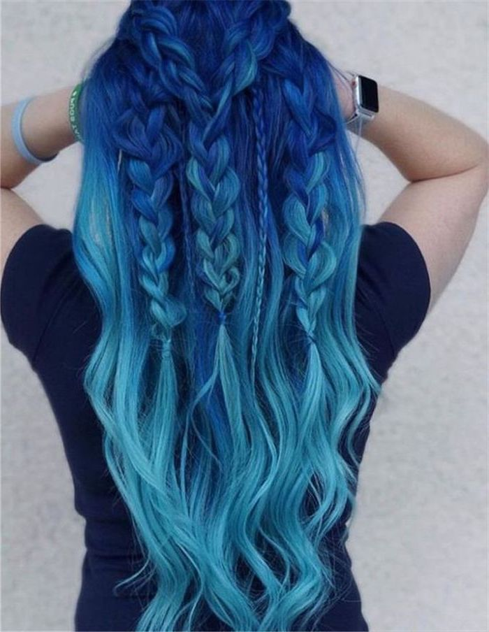 dark blue to light blue, braided hair, half up, half down, what is ombre hair, dark blue shirt