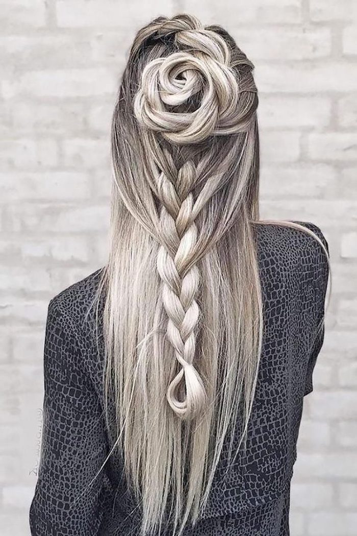 ash grey hair, blonde highlights, braid and a rose shaped bun, how to do a waterfall braid, white brick wall