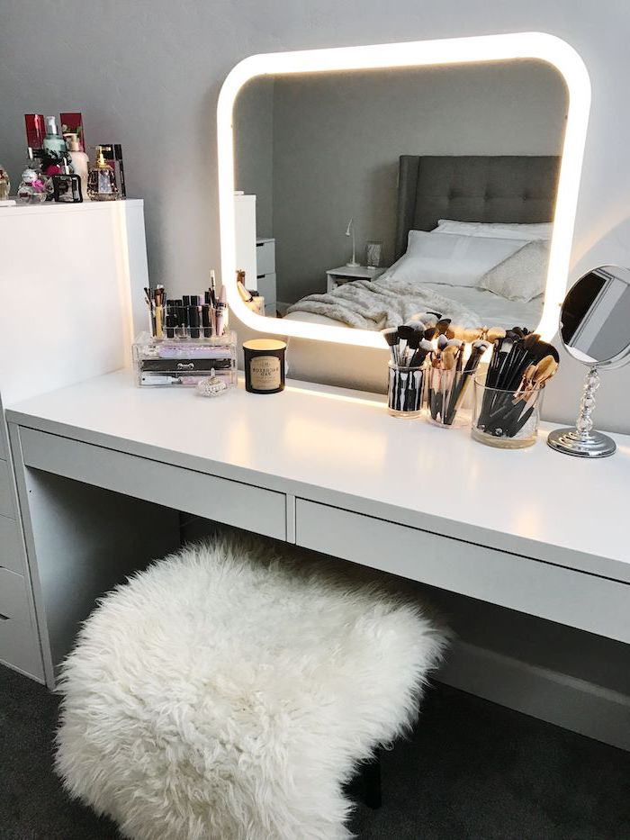 mirror with lights, white table with drawers, vanity mirror with lights for bedroom, makeup brushes