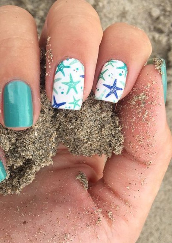 blue and white nail polish, blue and turquoise, sea stars drawings, classy nail designs, beach sand