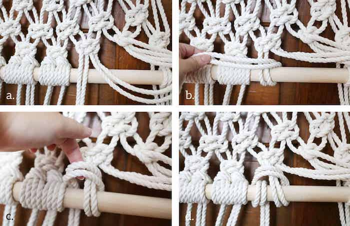 screen dividers, white rope, wooden pole, diy tutorial, with macrame, step by step