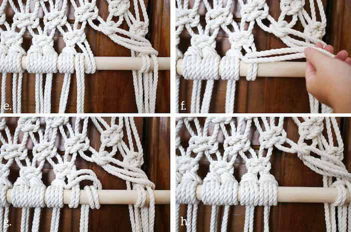 white rope, wooden pole, diy tutorial, with macrame, step by step, screen dividers