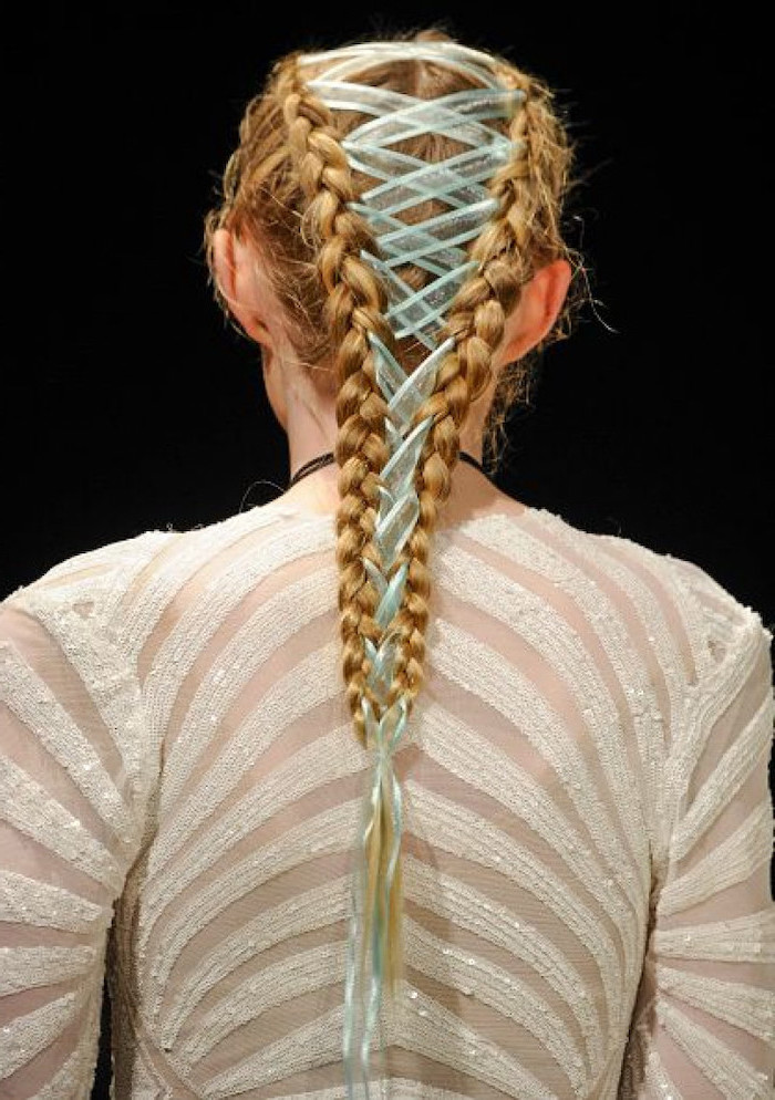 corset braids, blue ribbon, two braids, blonde hair, how to do a waterfall braid, white sequinned top