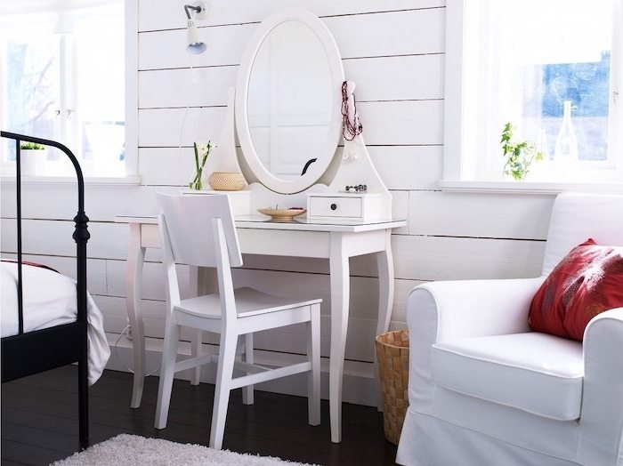 white armchair, white chair, modern makeup vanity wooden wall, black wooden floor