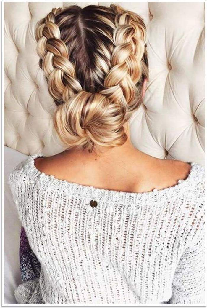 dark blonde hair, with highlights, how to do braids, white sweater, two braids, in a bun