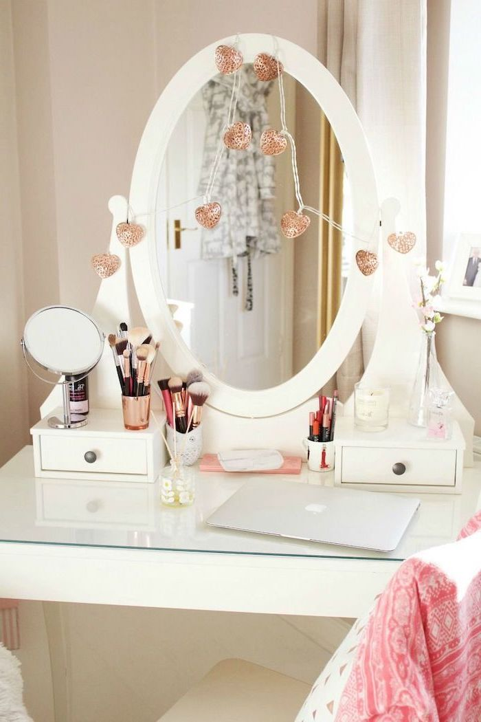 bathroom makeup vanity, white table, with small drawers, heart shaped lights