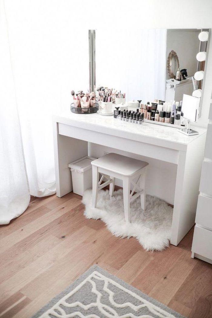 white table, marble countertop, bathroom makeup vanity, wooden floor, white stool