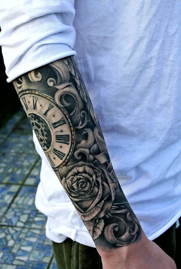 white shirt, roses and stopwatch, roman numerals, tiled floor, tattoos for men on arm sleeves
