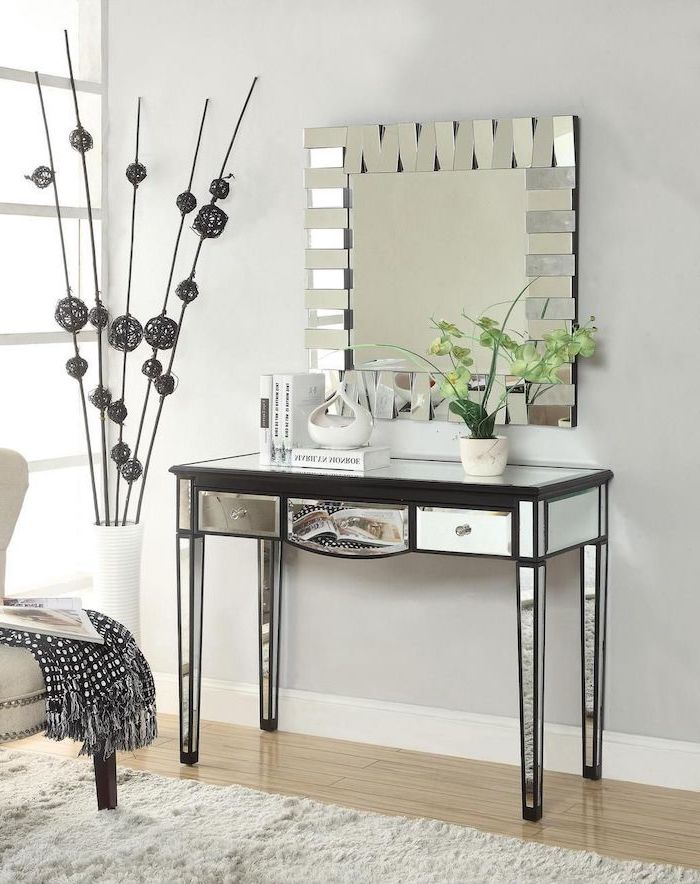 mirrored table, with drawers, square mirror, bathroom makeup vanity, wooden floor, white wall