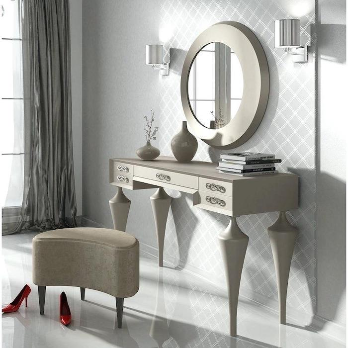 wooden table, round mirror, makeup vanity table with lighted mirror, beige ottoman, white floor