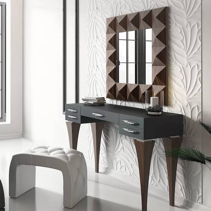 wooden mirror frame, black table, square mirror, makeup vanity with lighted mirror, white leather stool