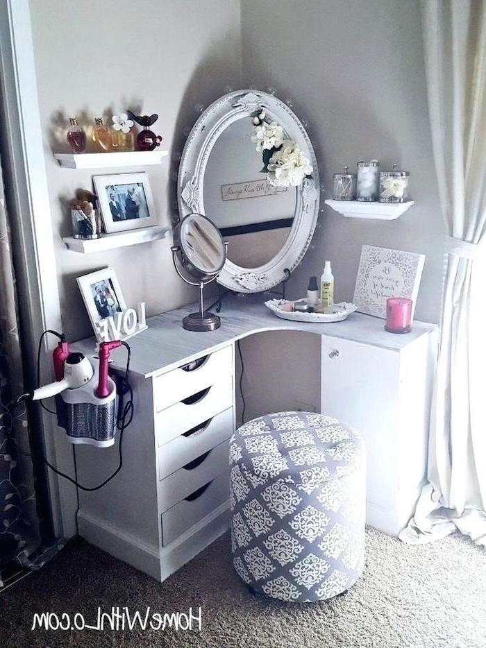 vintage mirror, corner table, with drawers, dressing table with drawers, grey and white ottoman