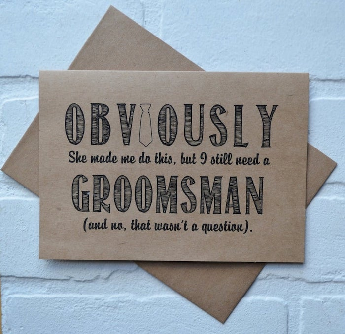 practical groomsmen gifts, funny card, white background