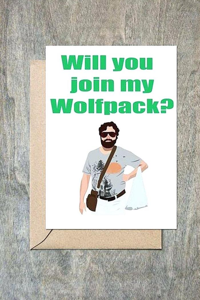 will you join my wolfpack, groomsmen gift sets, funny card, wooden background