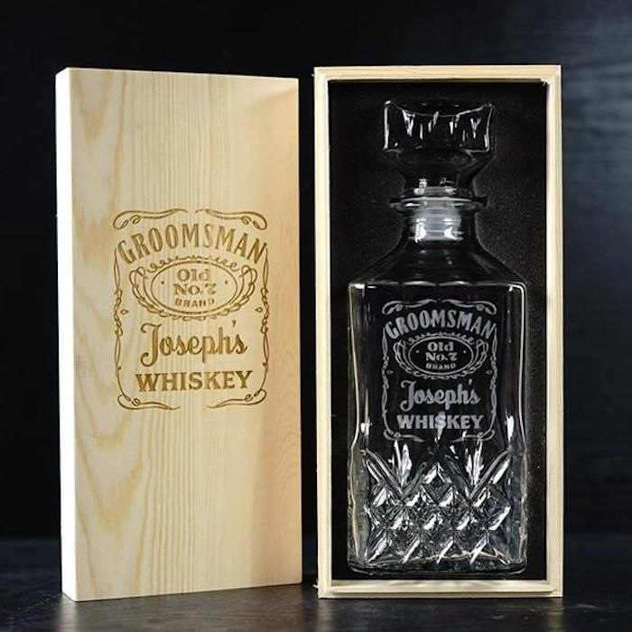 glass whiskey decanter, inside a wooden box, personalised with name, groomsmen gift sets