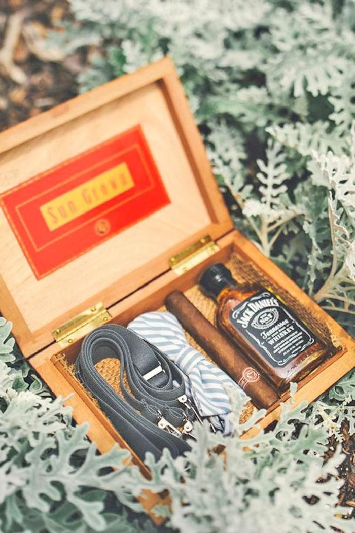wooden box, suspenders an bow tie, whiskey and cigar, groomsmen gift sets, blurred background