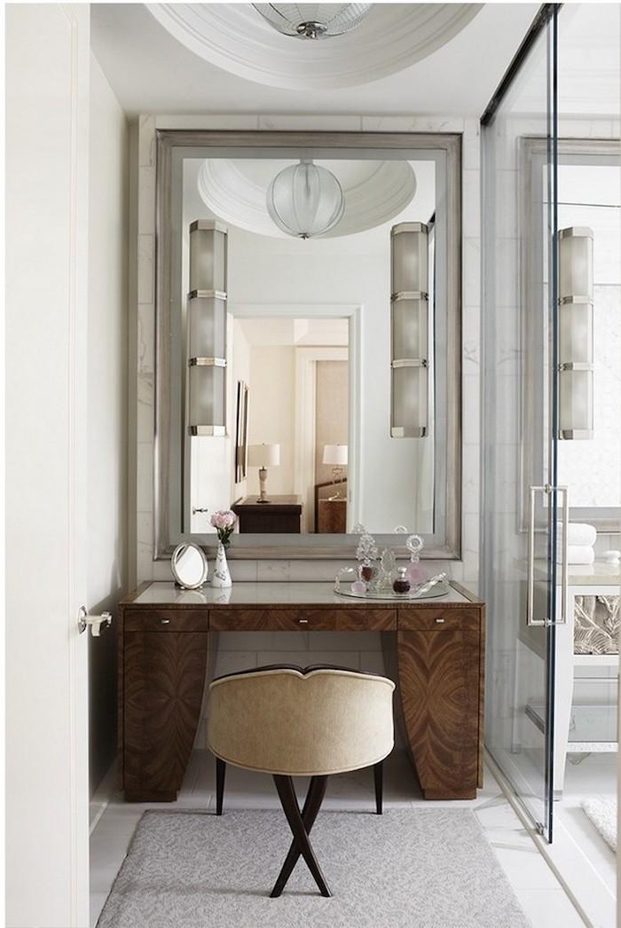 diy makeup vanity, wooden table, beige chair, grey carpet, large mirror