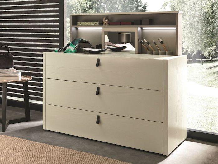 white table with drawers, diy makeup vanity, grey floor, beige carpet, wooden blinds
