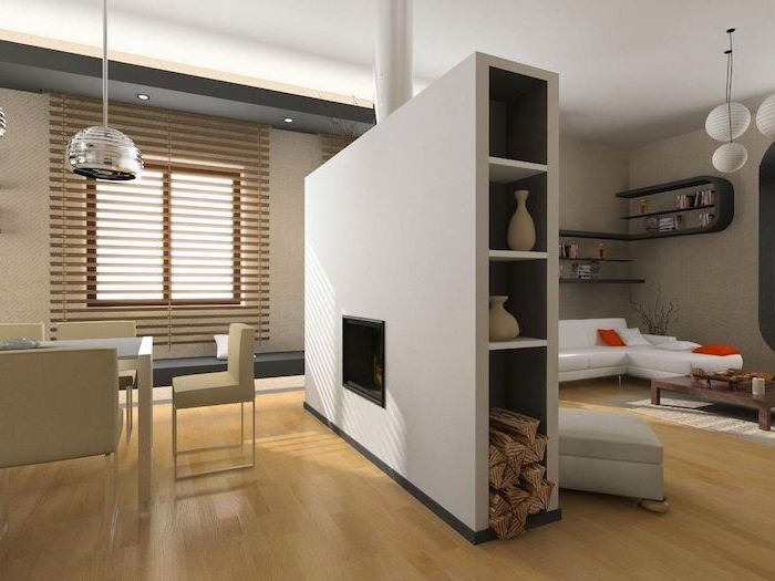 portable room dividers, white chairs, electric fireplace, white corner sofa, wooden blinds