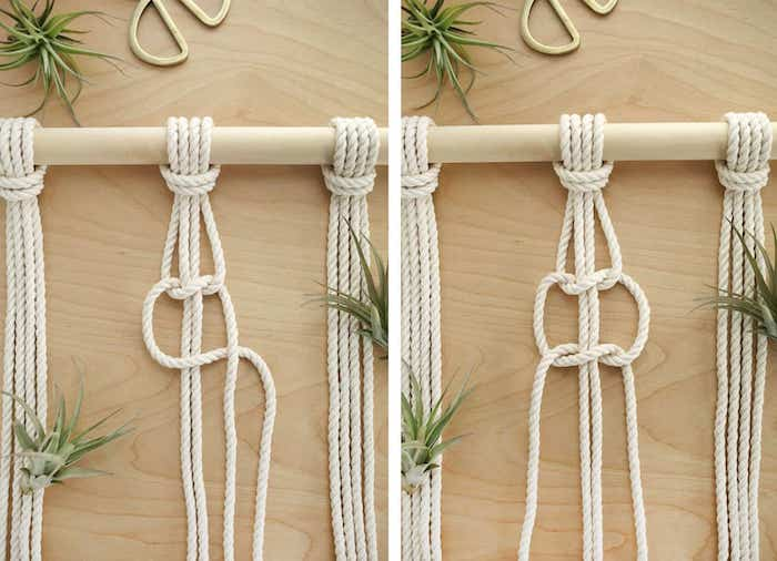 diy tutorial, with macrame, step by step, diy room divider, white rope, wooden pole