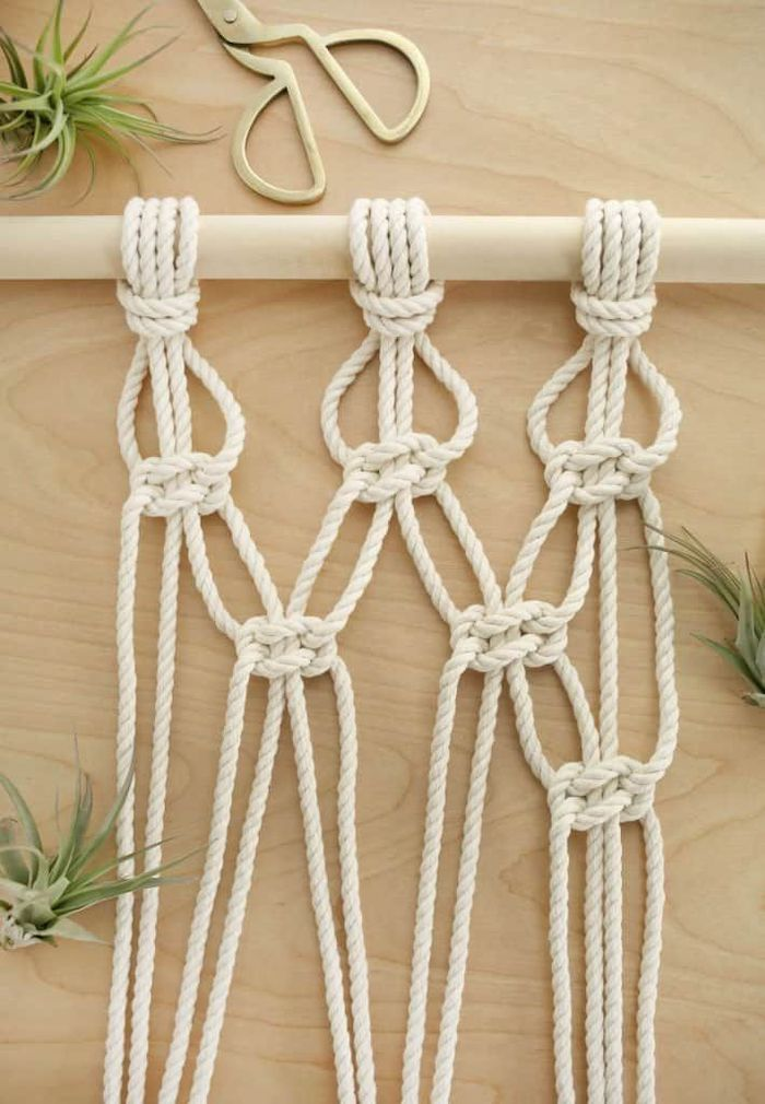 white rope, wooden pole, diy tutorial, with macrame, step by step, diy room divider, wooden background