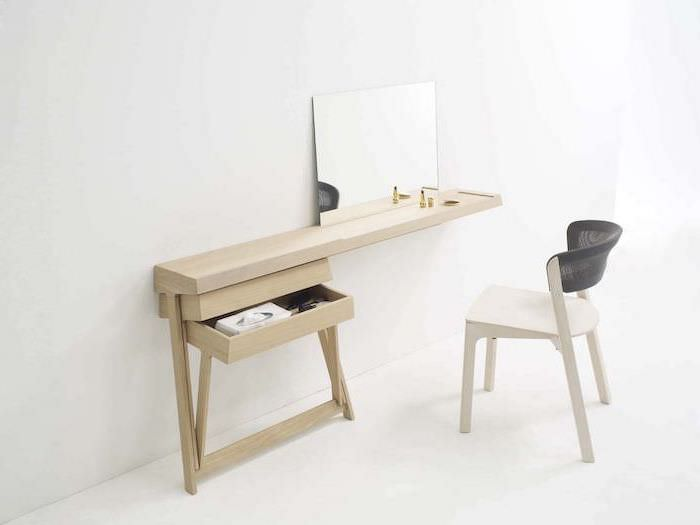 wooden shelf, with a drawer, wooden chair, dressing table with drawers, small mirror, white background
