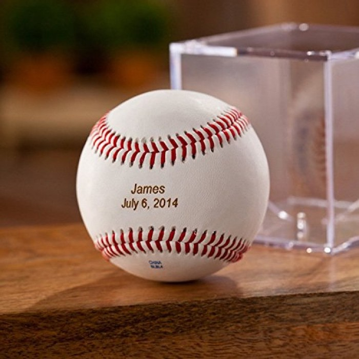 how to ask groomsmen, baseball engraved with name and date, on a wooden table