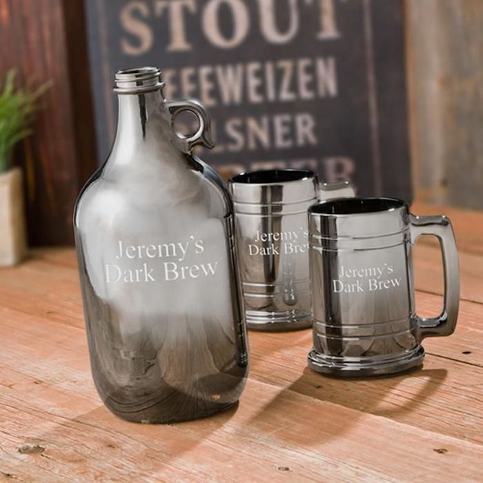 metal pitcher, two metal beer mugs, personalised with name, how to ask groomsmen, wooden table