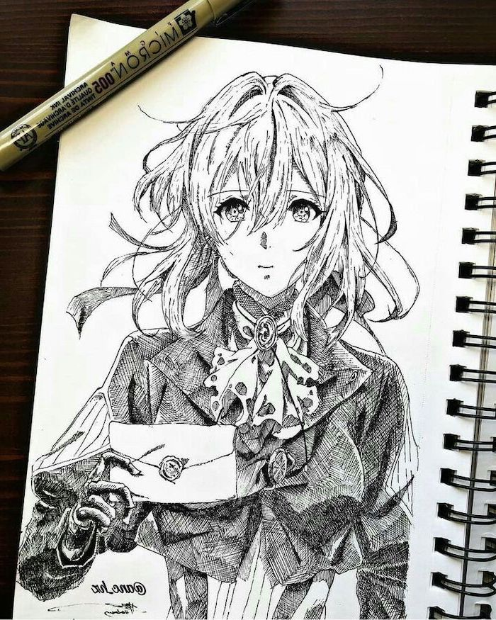 white notebook, how to draw manga, girl drawing, black and white, pencil sketch