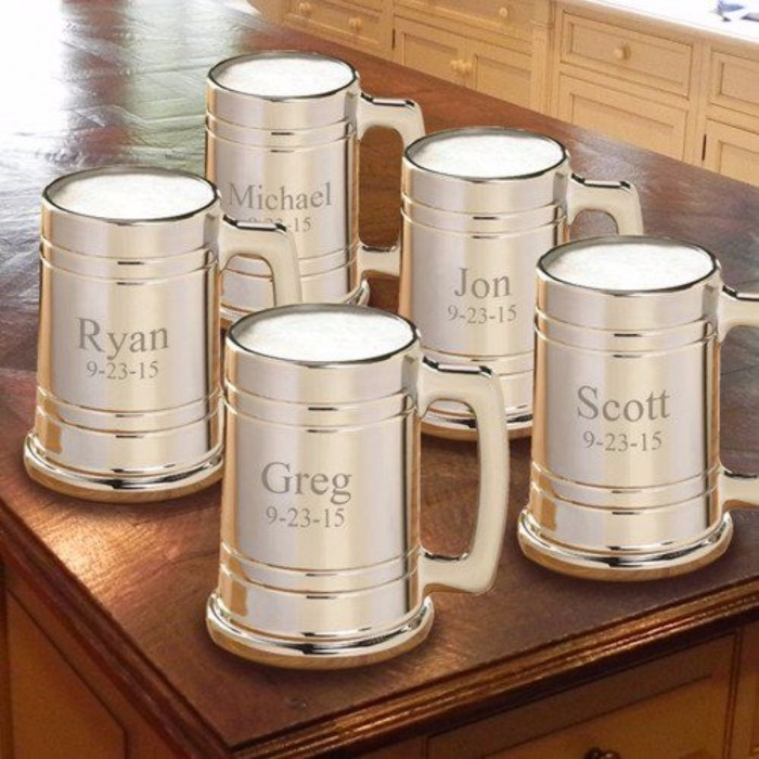 metal beer mugs, how to ask groomsmen, personalised with names and dates, on a wooden table