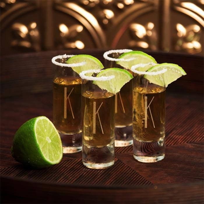shot glasses, personalised with initial, lime slices and sugar on top, how to ask groomsmen