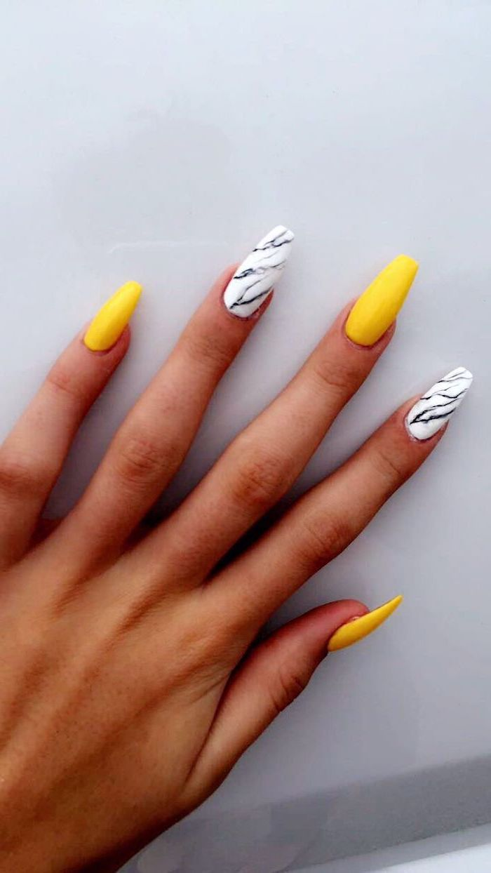 yellow and white, nail polish, cute gel nails, white black and grey marble, white background