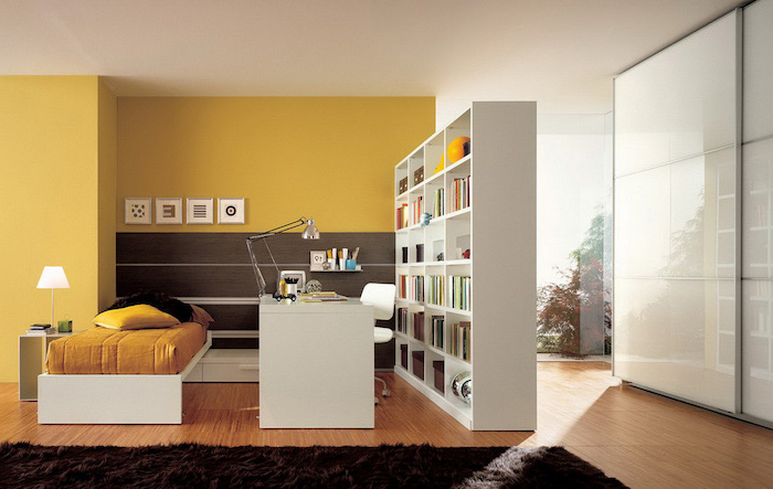 yellow wall, glass panels, white bookcase, decorative room dividers, wooden floor, black carpet