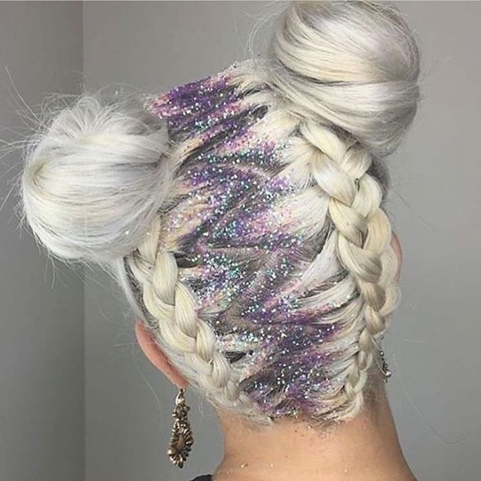 zig zag, two braids, two buns, colourful glitter, how to do braids, blonde hair