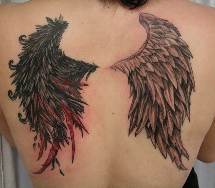 one devil wing, one angel wing, wings chest tattoo, back tattoo, white background