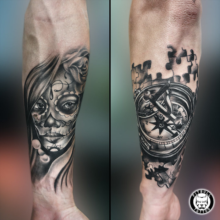 side by side photos, compass tattoo, jigsaw puzzle, female face, arm tattoo