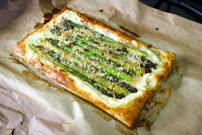asparagus inside a pastry, brunch recipes, baking sheet, cheese on top
