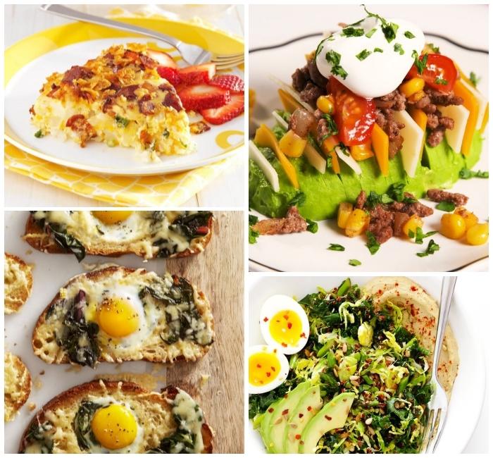 photo collage, avocado salad, egg toast, brunch recipes, avocado and cheese