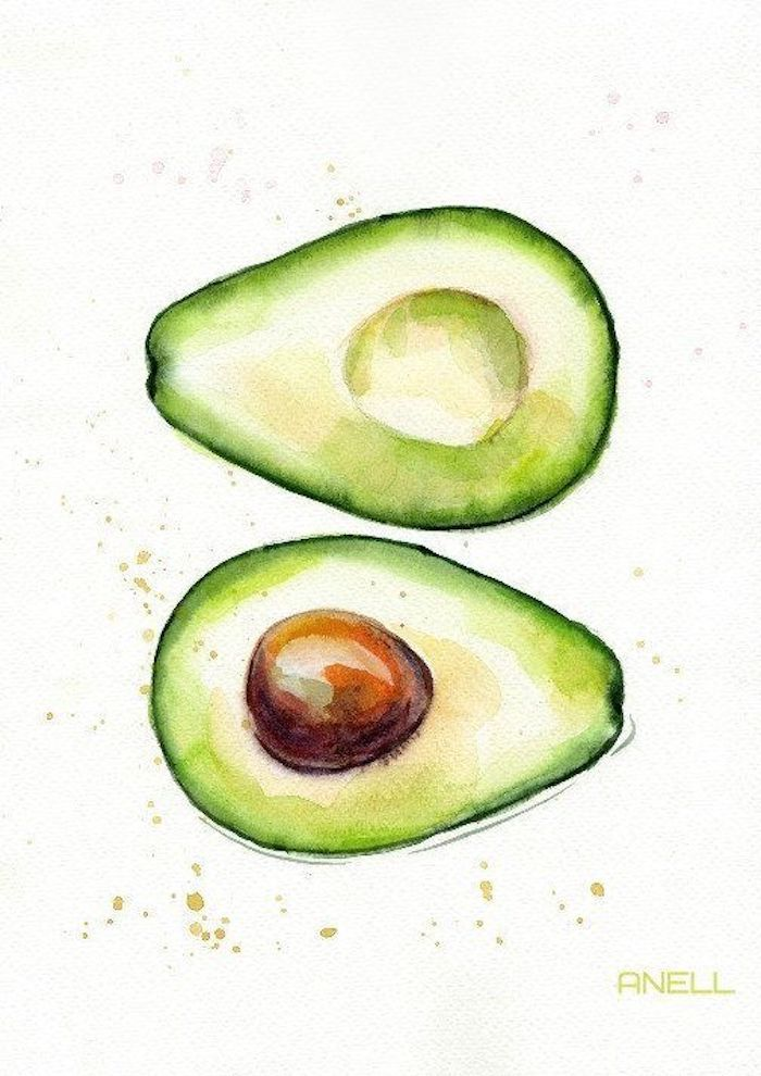 slices of avocado, drawing images, green and yellow paint, white background