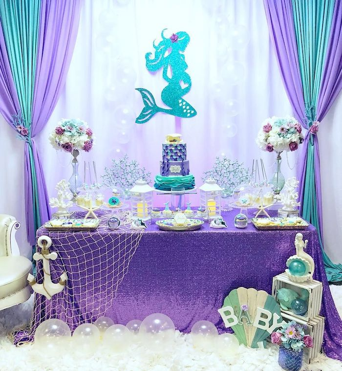 mermaid theme, baby shower ideas for girls, purple and turquoise decorations, dessert table, large flower bouquets