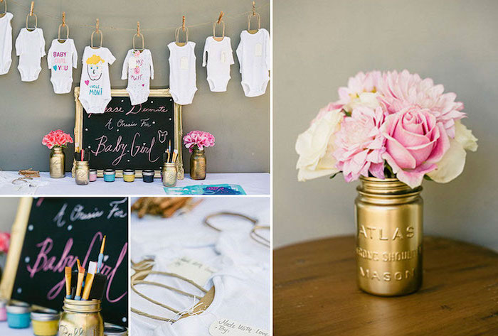 photo collage, baby shower centerpieces, hanging onesies, black chalkboard, flower bouquets