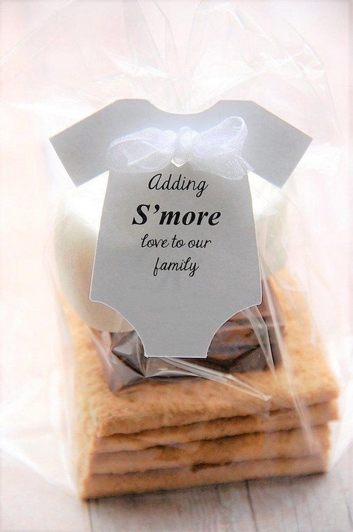 adding s'more love to our family, party favor, baby shower centerpieces, cookies with marshmallows