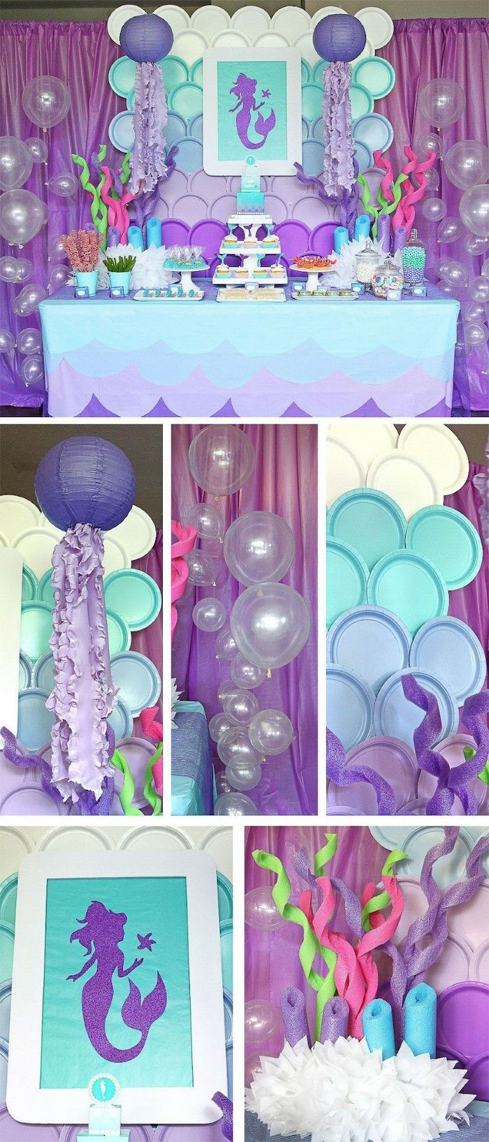 mermaid theme, baby shower centerpieces, purple and turquoise decor, dessert table, transparent balloons