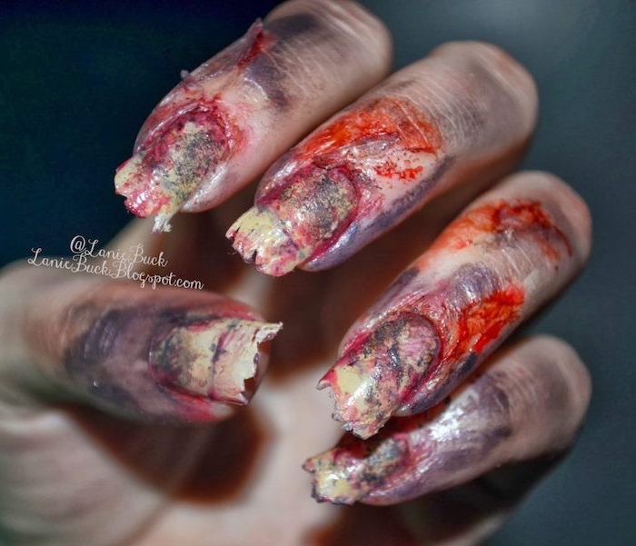 back from the grave, scary nails, candy corn nails, bloody nails, white and red nail polish, black background