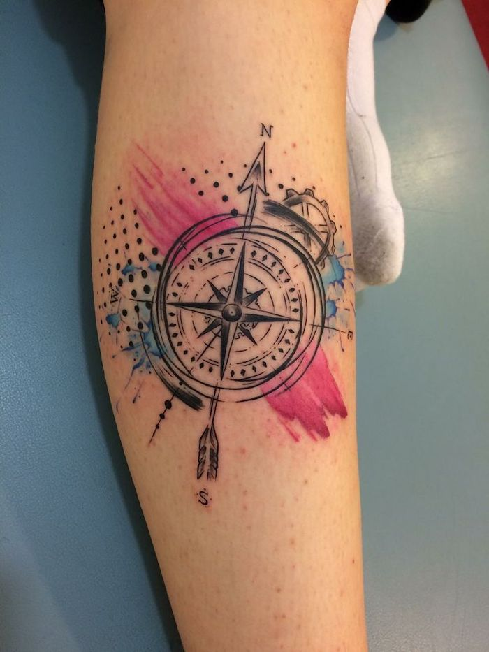 watercolor tattoo, leg tattoo, compass tattoo, white leather bed