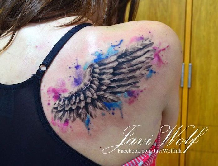 watercolor tattoo, blue pink and purple colors, wings chest tattoo, black top, yellow background
