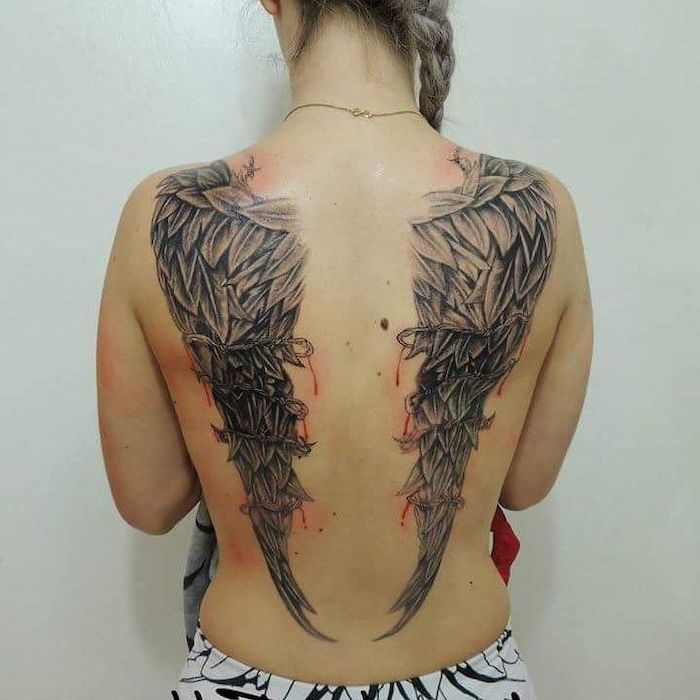 bleeding angel wings, covered in barbed wire, back tattoo, heaven tattoos, white background, angel and devil wings tattoo